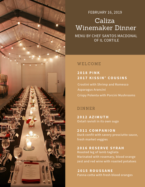 Winemaker Dinner Menu
